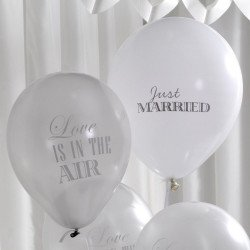Ballons vintage Just Married blanc (x8)