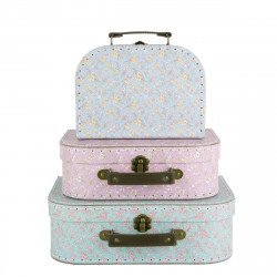 Valises pastel fleuries set de 3