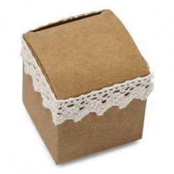 Boîtes carrées Kraft & Dentelle (x10)