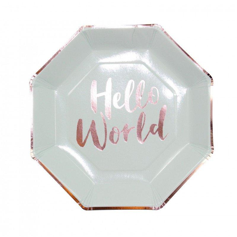 """Assiettes couleur menthe écriture """"Hello World"""" rose gold (x8)"""