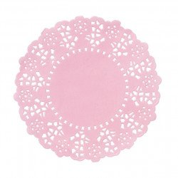 Mini napperons rose en papier dentelle 11 cm de diamètre (x100)