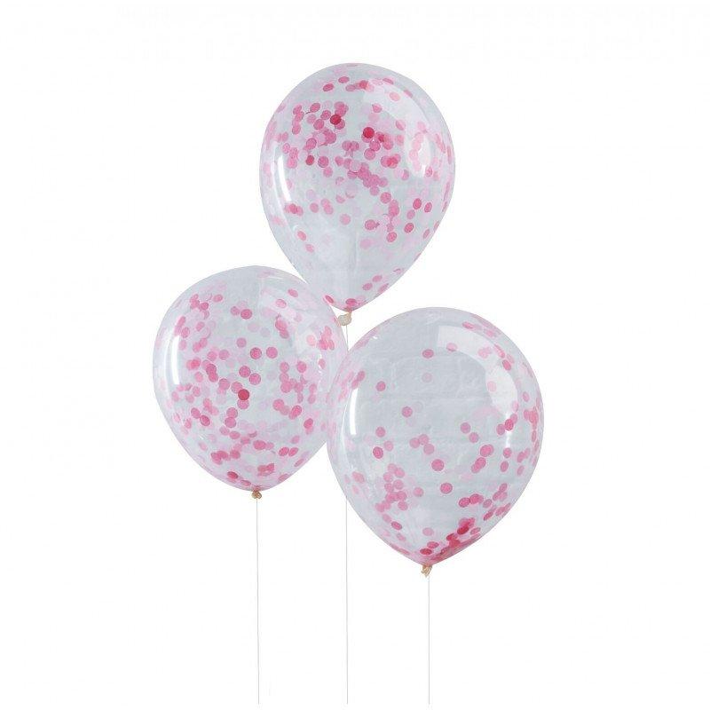 Ballons transparents confettis glitter rose (x5)