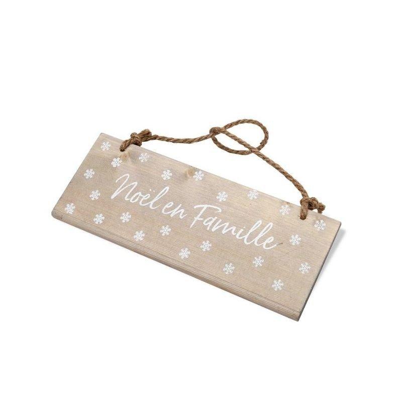 "pancarte en bois ""Noel en Famille"" flocons blanc"