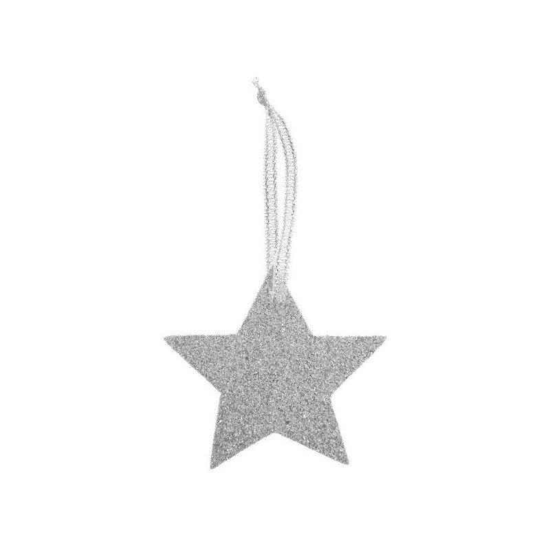 pendentif étoile pailleté or ou argent- 6 pièces