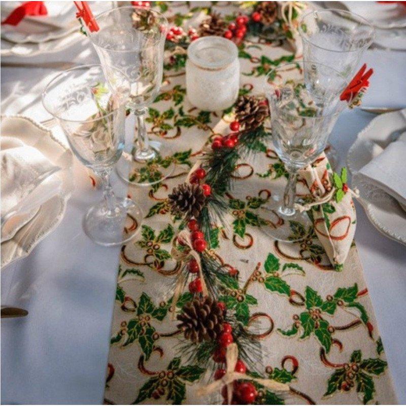 "Chemin de table ""traditionnel "" houx & lin"
