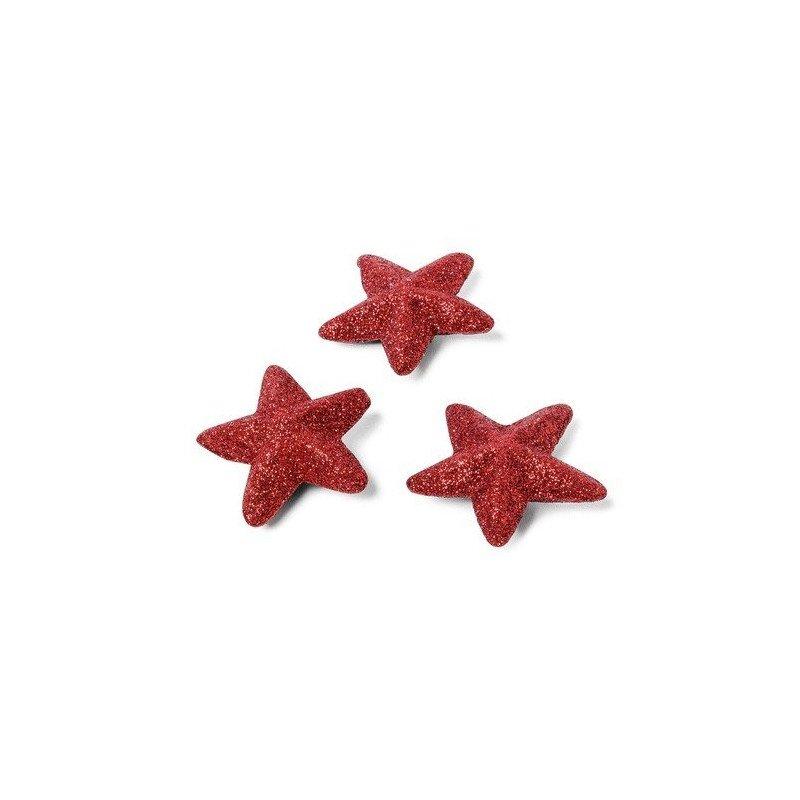 Lot 72 étoiles paillettees rouges