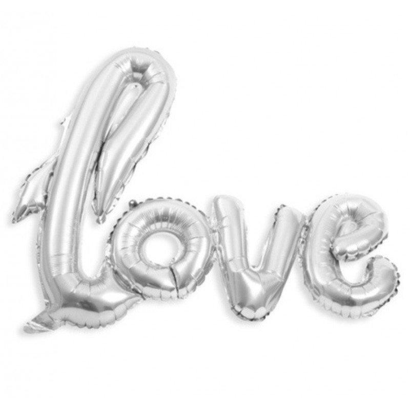 """Ballon """"love"""" géant argent"""
