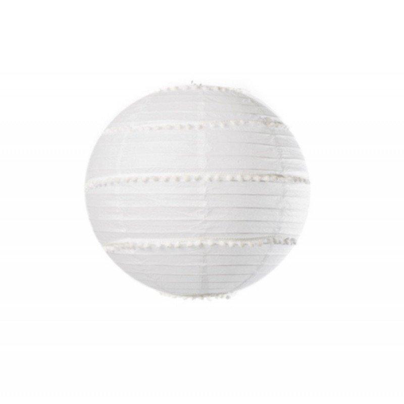Lanterne Pompons blanc - 35cm