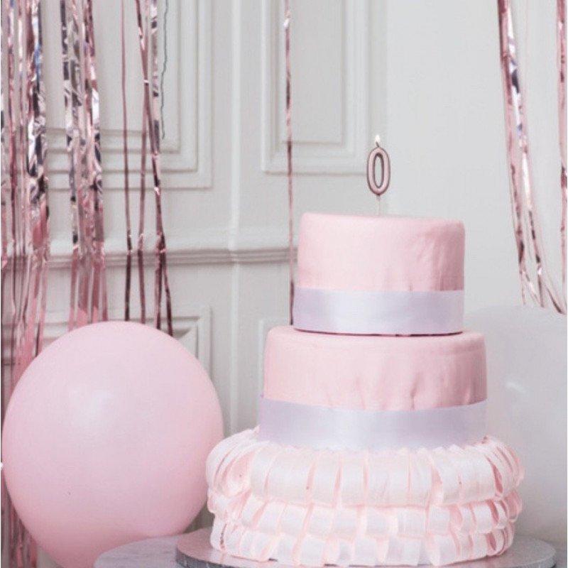 Bougie chiffre 0 Rose Gold décor gâteau rose