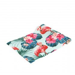 Chemin de table satin flamant rose