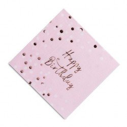 Serviette Happy Birthday confettis rose gold