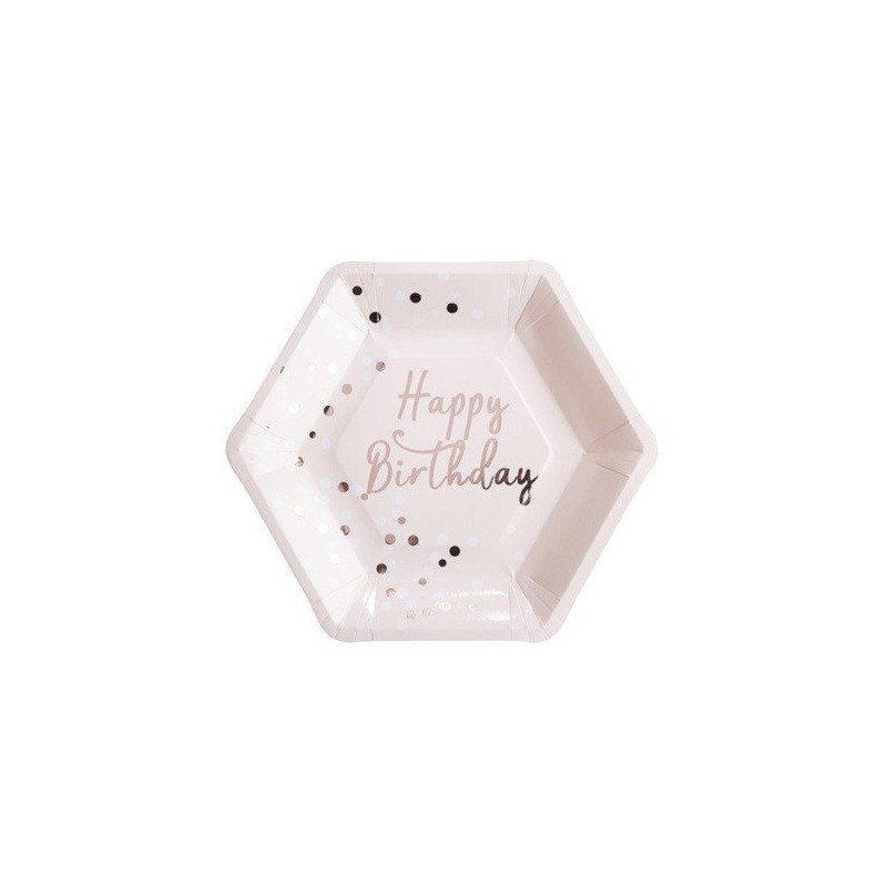 Assiettes Happy Birthday confettis rose gold