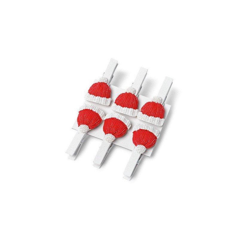 6 Petites Pinces Bonnet rouge & blanc