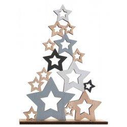 Sapin de Noël en bois étoilé