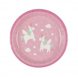 Assiettes Licorne Rose (x8)