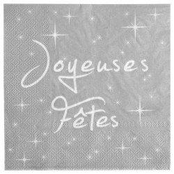 """Serviettes """"Joyeuses Fêtes"""" Argent (x20)"""