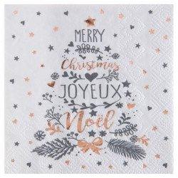 Serviettes Noël Coeurs & Etoiles (x20)