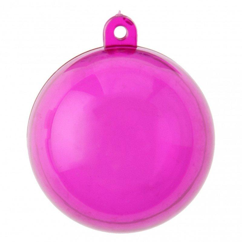 Boules transparentes couleur fuchsia 4 cm (x6)
