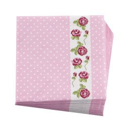 Serviettes en papier rose fleuries (x16)