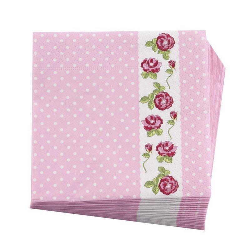 Serviettes en papier rose fleuries (x16)