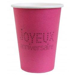 10 gobelets Joyeux Anniversaire - Fuchsia