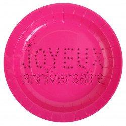 """10 assiettes """"Joyeux anniversaire"""" - Fuchsia"""