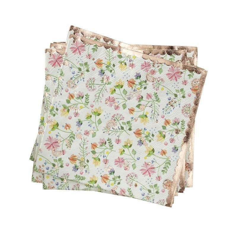 """Serviettes à fleurs """"coktail"""" Liberty (x16)"""