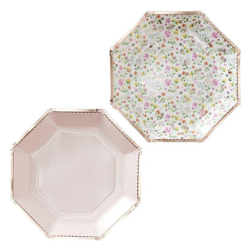 Assiettes à fleurs & Or rose (x8)