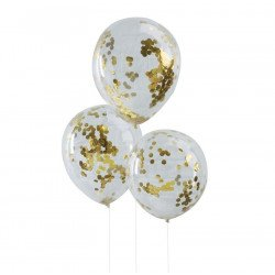 Ballons transparents confettis glitter or (x5)