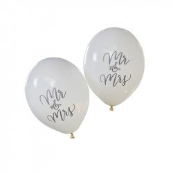 Ballons ivoires Mr & Mrs (x10)