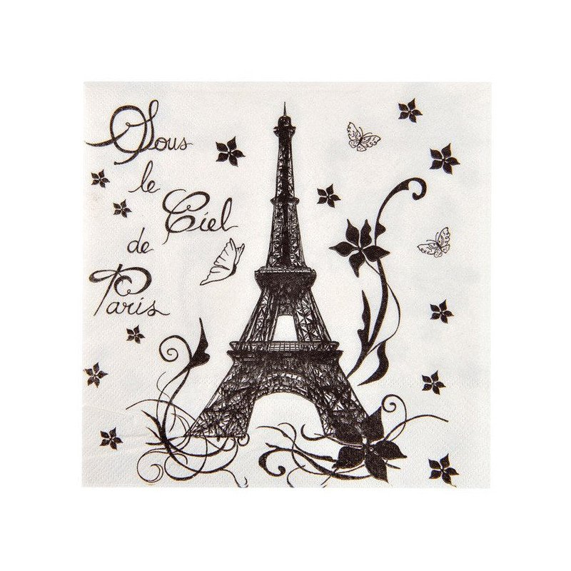 Serviettes noir et blanc Paris (x20)