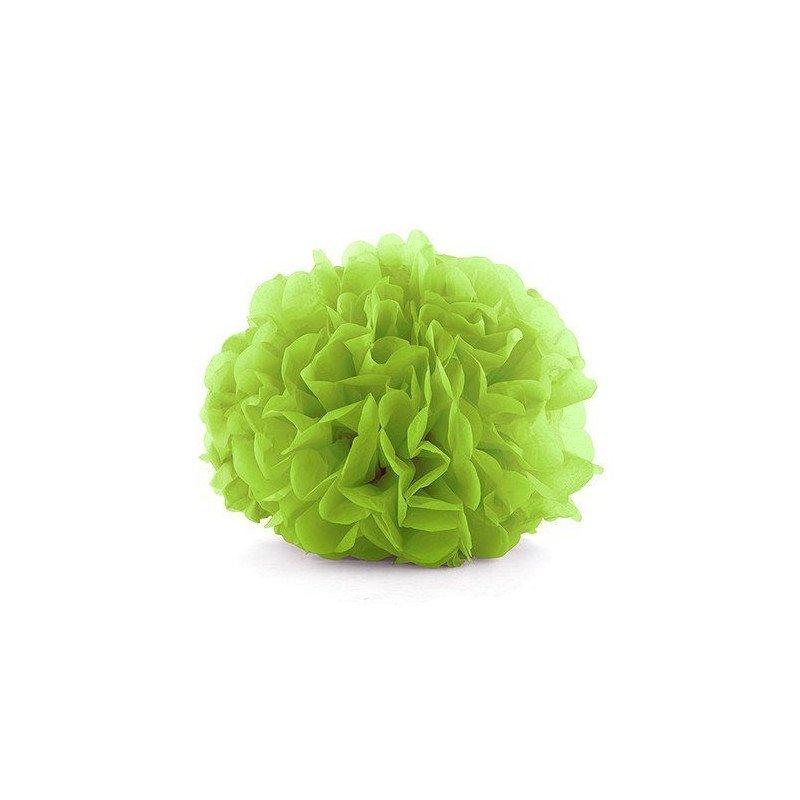 Pompons en papier de soie vert pomme (x6)