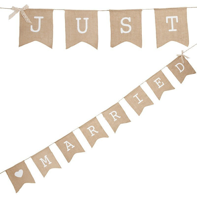 "Banderole en lin ""juste married"""