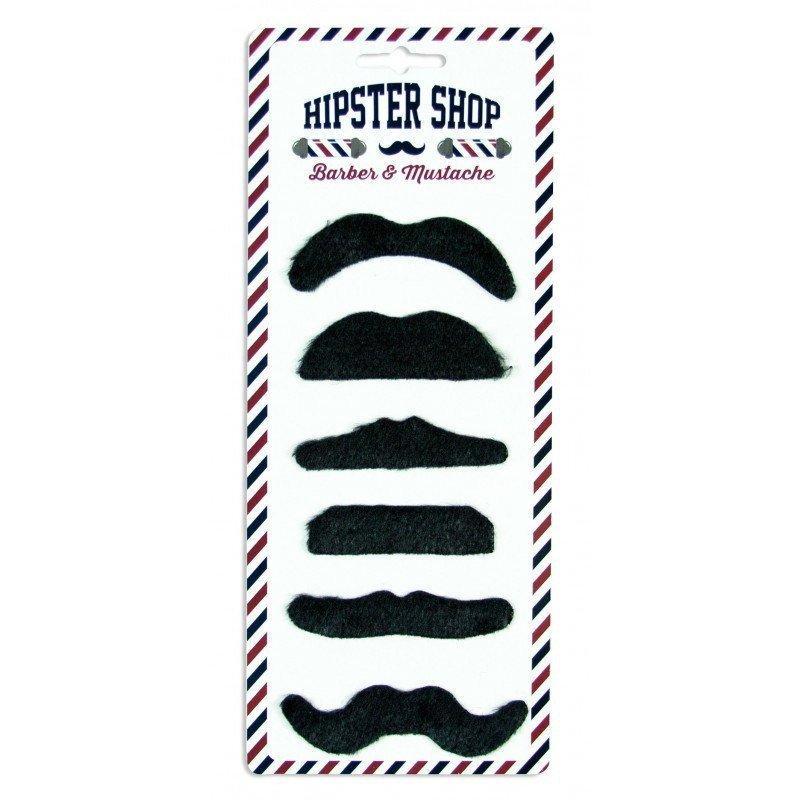 Moustaches adhésives noire (x6)