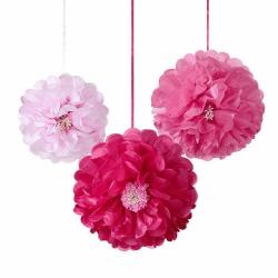 Pompons Fleurs en papier (x3)
