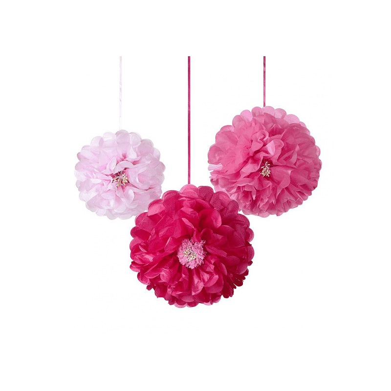 Pompons fleurs en papier 3 nuances de rose (x3)
