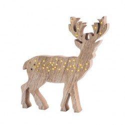 Cerf en Bois et Paillettes - 15cm