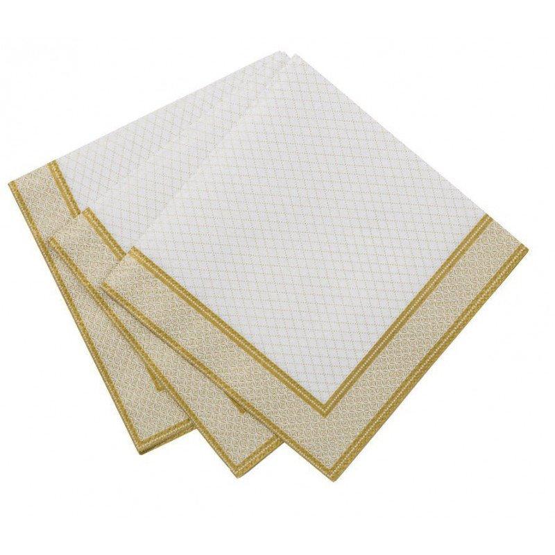 Petites serviettes blanches et dorées (x20)