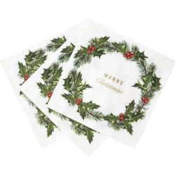 "Serviettes Houx ""Merry Christmas"" (x20)"