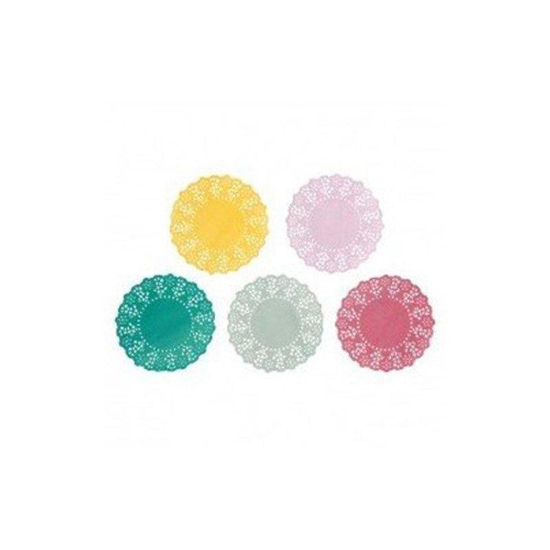 Napperons 5 couleurs jaune, rose, vert, gris, fuchsia (x100)