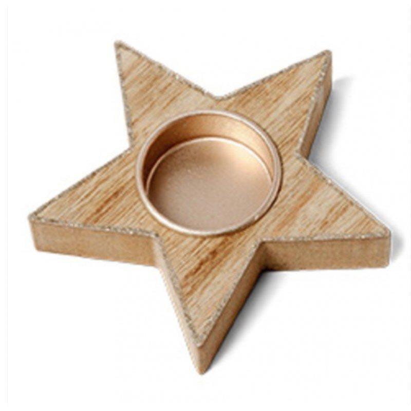 Bougeoir etoile bois contour pailletes cuivre - 11cm de diamètre