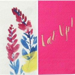 Serviettes fleuries fluo (x20)