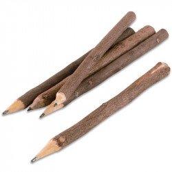 Crayons à papier en bois rustiques (x5)