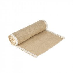 Chemin de table toile de jute bords dentelle