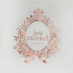 "Serviettes ""Just Married"" rose gold (x20)"
