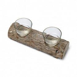 Double bougeoir rondin de bois + 2 photophores