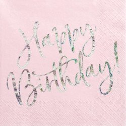 Serviettes rose poudré Happy Birthday (x20)