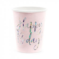 Gobelets rose poudré Happy Birthday (x6)