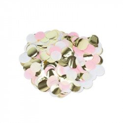 Confettis Papier Soie Rose Blanc & Or