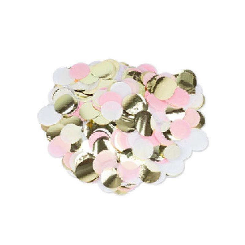 Jolis Confettis Papier Rose Blanc Or